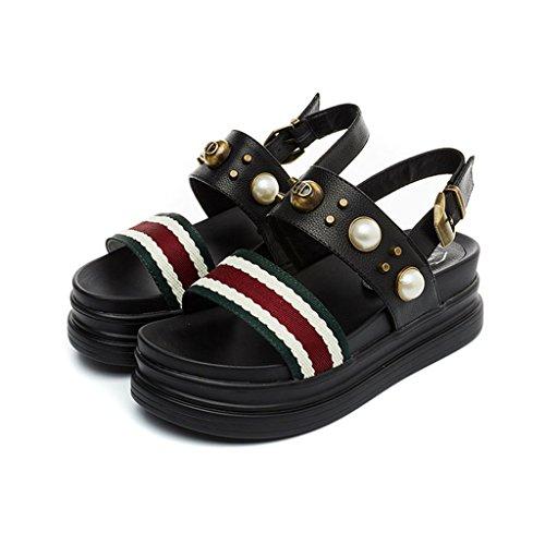 LIXIONG Portatile Suole spesse dei sandali La moda femminile estiva era sottile scarpe casuali della perla Scarpe piatte morbide comode -Scarpe di moda ( Colore : A , dimensioni : EU37/UK4-4.5/CN37 ) B
