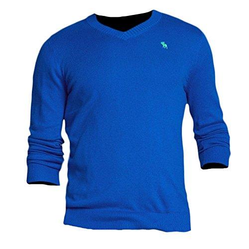 Abercrombie & Fitch -  Felpa  - Basic - Maniche lunghe  - Uomo blu Large