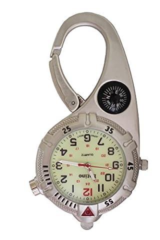 Mini Clip Watch - Montre analogique compacte Carabiner Montre en argent avec boussole et Ultra Bright LED Microlight Luminosité Glow in the Dark Face Médecins Infirmières Chefs de soins paramédicaux