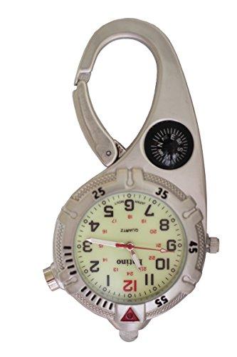 Entino Unisex Taschenuhr Kompass helle LED leuchtende analoge Quarzwerk mit Mini-Clip Karabiner Ent-FOB (Silber)