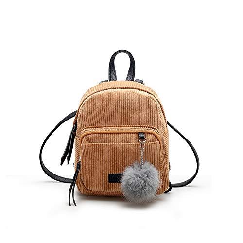 GLOGLOW Frauen-Mädchen-Minirucksack, Segeltuch-Pompom-hängender zufälliger Reise-Einkaufen-Rucksack(Hellbraun) (Segeltuch-frauen-rucksack)
