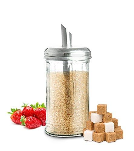 Sendez® Zuckerstreuer Zuckerspender Zuckerdosierer Zuckerglas Zuckerdose Streuer 230ml
