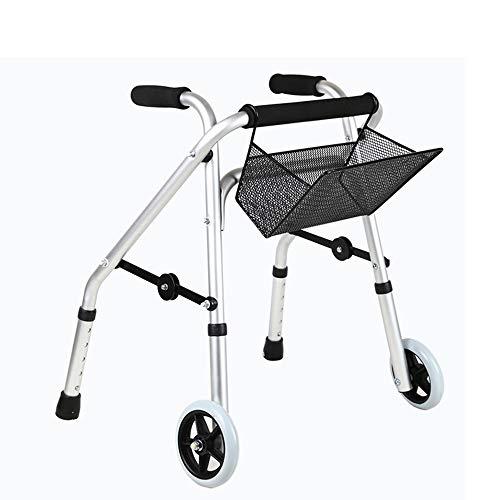 EGCLJ Aluminium-Legierung Faltbarer Standard-Walkers, Kid Standard Beintraining Walker Mit Einkaufskorb, Rehabilitationshilfen Trainingsrahmen