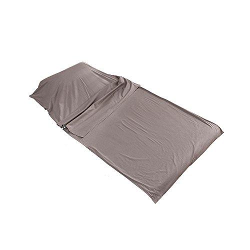 OUTRY Leichter Sommerschlafsack aus 100% Baumwolle, Reise und Camping Schlafsack Inlett, Schlafsack Inlay, Ideal für Camping, Hostels und Jugendherbergen (Grau, Klein - 80cm x 210cm)