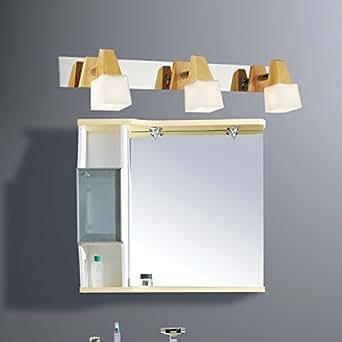 LYNDM La moda del legno di quercia Luce specchio breve specchio moderna lampada frontale abito in legno Camera appliques Deocr gli apparecchi di illuminazione per lampade,bianco caldo (2700-3500K)(#JD-1033)