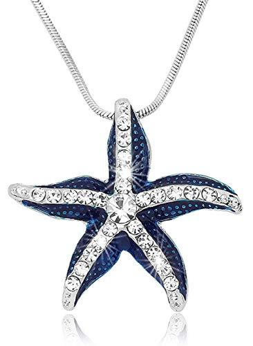 Glamour Girl Gifts Blue Seestern-Anhänger Halskette für Damen, Strand, Ozean, Geschenke, Geburtstag, Weihnachten, Urlaub, Urlaub