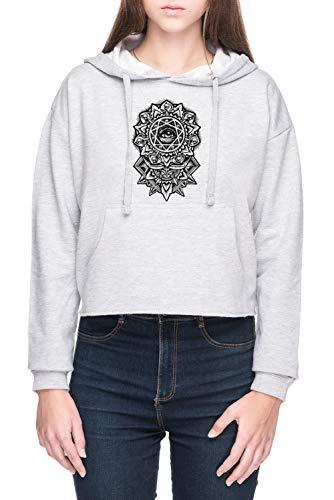 Ojo de Dios Flor Mandala Mujer Sudadera con Capucha de Crop Gris Women's Crop Hoodie Sweatshirt Grey