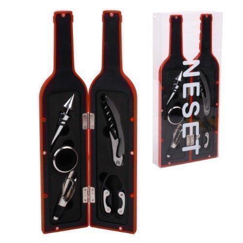 Somelierset(5tlg.)Kellnermesser, Cutter, Abtropfring, Ausgießer) in Flasche