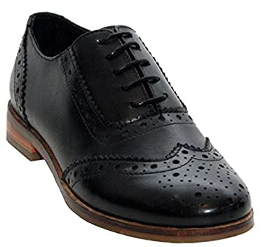 8fe109e2e86 Womens Ladies Genuine Leather Round Toe Lace up Smart Formal Office Brogues  Shoes UK Sizes 3