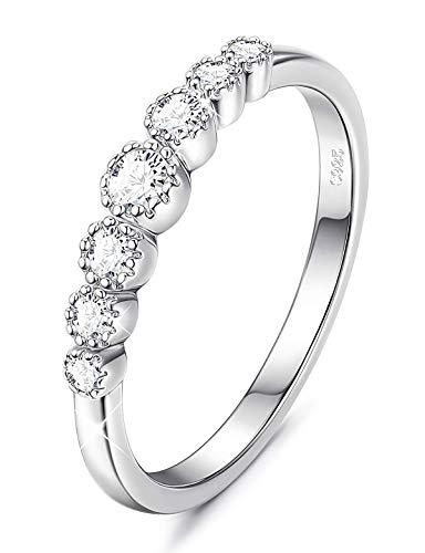 925 Sterling Silber Ehering Zirkonia Eternity stapelbar Verlobungsring für Frauen Mädchen