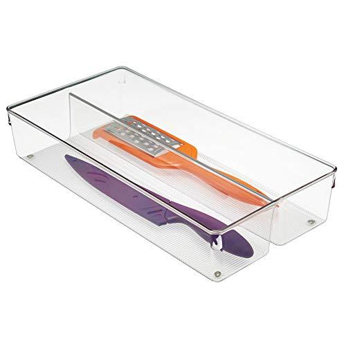 2 Schublade Schrank Organizer (iDesign Schubladen Organizer mit 2 Fächern, großer Schubladeneinsatz aus Kunststoff, Besteckkasten für Schubladen in Küche, Bad und Büro, durchsichtig)
