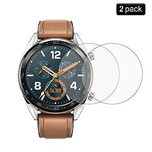 [2 Stück] Huawei Watch GT Panzerglas Schutzfolie – PaceBid [Anti-Kratzer] 9H Härte kristallkla kratzfest Hartglas Displayschutzfolie Glasfolie für Huawei Watch GT