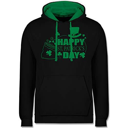 St. Patricks Day - Happy St. Patrick's Day Kleeblätter - L - Schwarz/Grün - JH003 - Kontrast Hoodie