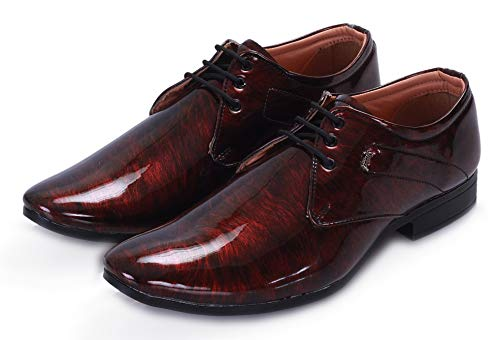 SWANWOOD Synthetic Leather Casual & Formal Laceup Shoes for Men's (10, Red)