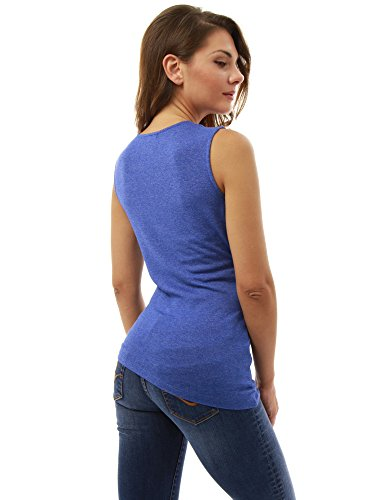 PattyBoutik femmes blouse en cache-coeur à col V sans manches couleur solide Heather Blue