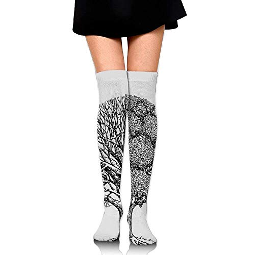 OQUYCZ Woman Plant with Different Themes Leafless and Petals Symbol Spring High Boot Socks