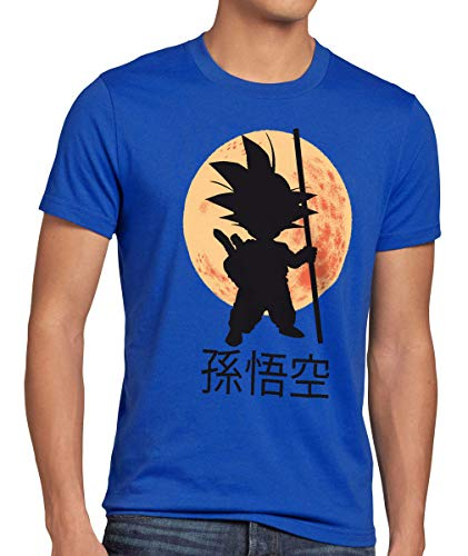style3 Goku Dragon Moonlight Herren Anime T-Shirt Ball Mond Gohan Jung Dojo Son Drache Young, Größe:M, Farbe:Blau - Dragon T-shirt Shorts