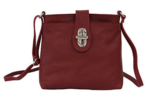 AMBRA Moda Damen echt Ledertasche Handtasche Schultertasche Umhängtasche Citybag Girl Crossover GL007 (Dunkelrot)