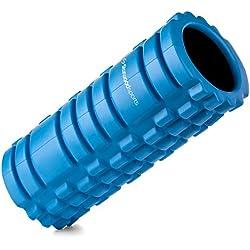 Foam roller per il trattamento dei trigger point - Rullo in gommapiuma per il massaggio muscolare e il rilascio miofasciale - Attrezzo per riabilitazione - fitness - crossfit - yoga e pilates - Garanzia a vita (Blu con interno nero)