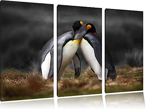 Serrant pingouins dans l'Antarctique B & W détail3 pièces toile image 120x80 image sur toile, XXL énormes photos complètement encadrées avec civière, imprimé Art mural avec cadre gänstiger comme une peinture ou une peinture à l'huile, pas poster ou une affiche