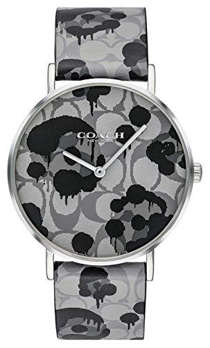 Coach | Damen-Armbanduhr | graues Lederband mit Blumenmuster | 14503248 (Lederband Coach Damen-uhr)