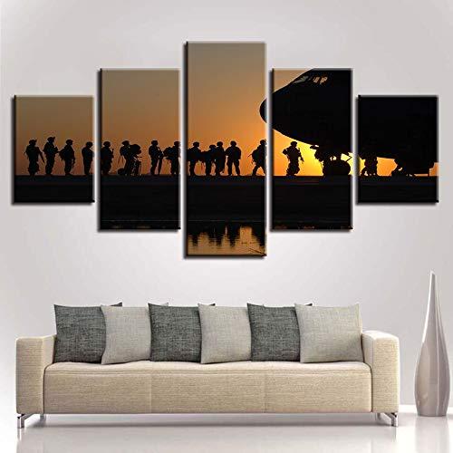 mmwin Wohnzimmer Leinwand s Wandkunst Stil Dekoration 5 Stück Amerikanischer Soldat Sonnenuntergang Bilder HD Drucke Modulare Poster d