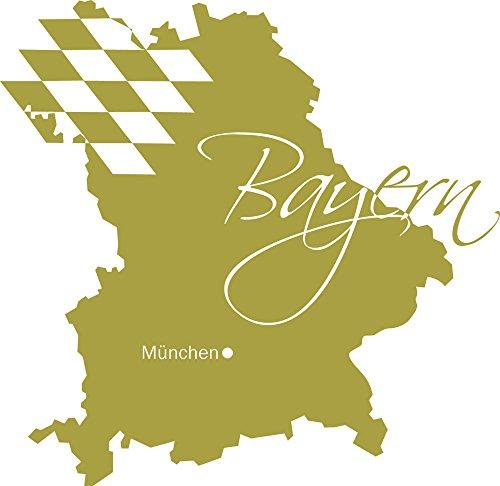 GRAZDesign Wandtattoo Flagge - Wandsticker Deko Aufkleber Bayern München - Deko Wohnzimmer modern Landkarte Umriss / 41x40cm / 826 Oasis