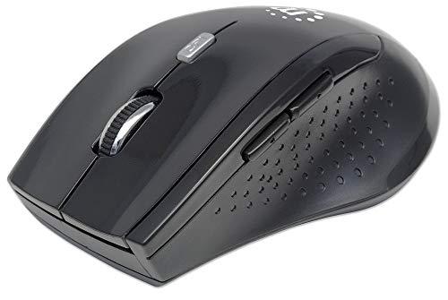 Manhattan 179386 Curve Wireless Maus USB (optisch fünf Tasten plus Mausrad 1600 dpi) schwarz Curve Trackball