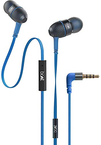boAt BassHeads 228 Extra Bass with Pouch in Ear Wired Earphones with Mic  Blue  Audio Headphones