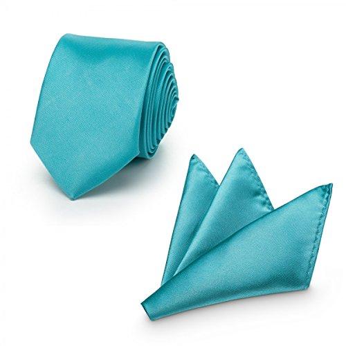 Rusty Bob - Krawatte mit Einstecktuch (in vielen Farben) - für die Verlobung, die Hochzeit - Schlips mit Taschentuch für das Sakko - 2er-Set - Coral / Koralle / Türkis (Jahre 60er Pastell)