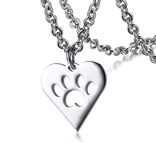 Vnox Edelstahl Hund Katze Pet Aushöhlen Pfote Gravierte Herz Tag Anhänger Halskette für Frauen,freie Kette (Hund Gravierte Katze)