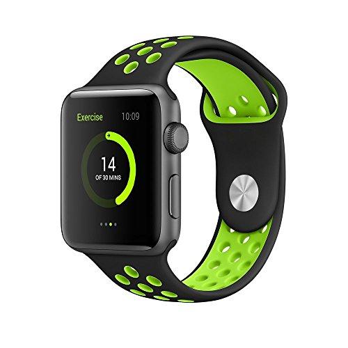 Morbido silicone sport sostituzione polso cinturino racelet per Apple iWatch Smart Watch, Black+Green, 42mm M/L