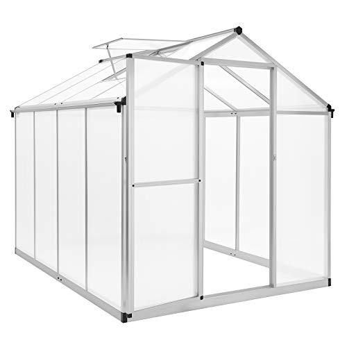 SONGMICS Gewächshaus aus Polycarbonat, Aluminium Treibhaus mit Klapptür, Fenster, Regenrinne und 4 Haken für Pflanzen GWP86WT