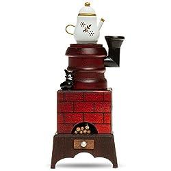 SIKORA Räuchermännchen aus Holz - Serie E - Räucherofen mit Katze, Farbe / Modell:E01 braun/rot - Räucherofen mit Kaffeekanne;Größe:Höhe ca. 19 cm