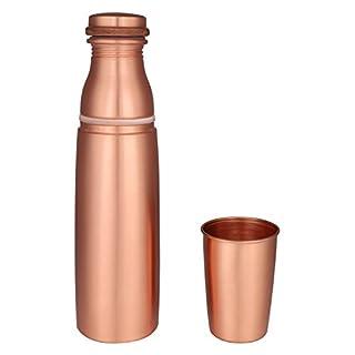 Zap Impex Travellers 100% Reines Kupfer Wasserflasche mit Glas für ayurvedische Vorteile - Designer Water Pitcher Flaschen Joint Free