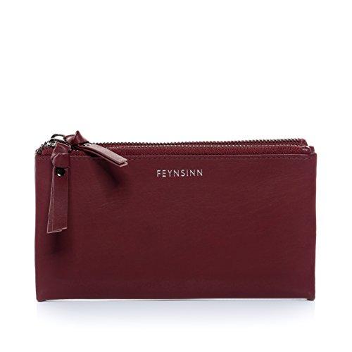 FEYNSINN® porte-monnaie JOOLS femme - grand pochette de portefeuille - portefeuille et poche pour le téléphone portable femme marsala en cuir véritable
