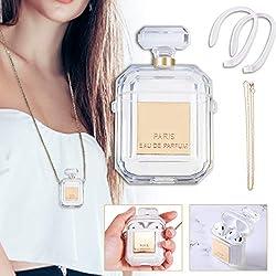 Charminer Kompatibel mit Silikonhülle Case für AirPods 1 & 2, Kreative Design-Parfümflasche Fall, Transparente Schutzhülle zur Aufbewahrung gegen Stürze mit 1 Schlüsselband und 2 Anti-verlorene Strap