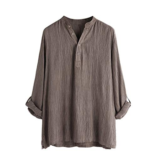Mens Henry Shirt Leinen-Baumwolle Hemd Breathable Leinenhemd Langarmshirt Summer Herbst Hemd Casual Regular Fit Oberteile -