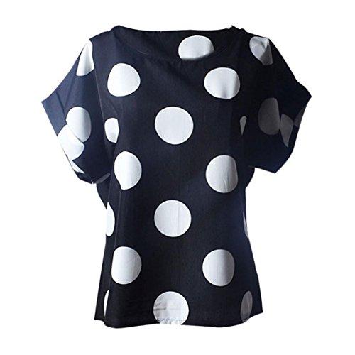 LuckyGirls Camisetas Mujer Manga Corta Verano Lunares Remeras Blusas Camisas (L, Negro)