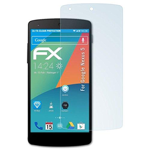 atFolix Schutzfolie kompatibel mit Google Nexus 5 Folie, ultraklare FX Bildschirmschutzfolie (3X)
