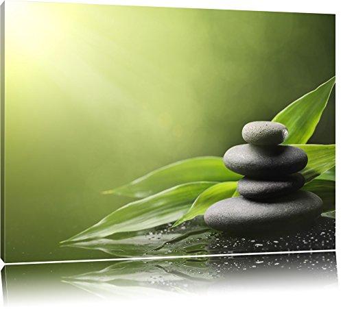 Zen Steine mit Blättern Format: 60x40 auf Leinwand, XXL riesige Bilder fertig gerahmt mit...