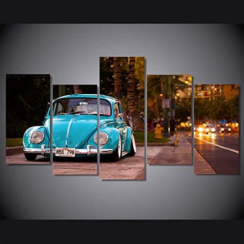 ZHWLHX Stampa HD Modulare Immagine Astratta Parete Arte 5 Pezzi Volkswagen Beetle Pittura A Olio Auto Decorazione della Casa Poster 200X100Cm