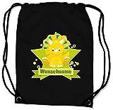 Samunshi® Turnbeutel mit Motiv Baby Dino und Name für Jungen und Mädchen personalisierbar personalisiert mit Namen Sportbeutel für Schule Sport Sporttasche schwarz
