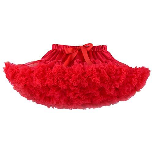 40cef9aae DoGeek Tutu Falda de Capas de Volantes Falda de Tul de Petticoat Tutú para  Niñas (Altura:110-120CM) 5-7 años Rojo
