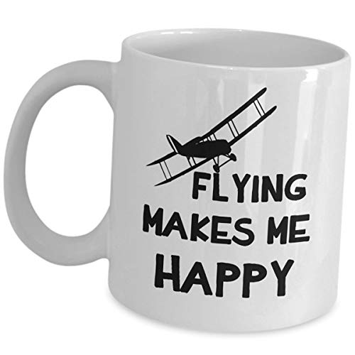 Cute Gifts For Pilots Aviator Coffee Mug - Flying Makes Me Happy - Helicopter Pilot Tea Cup Airline Captain Civilian Aircraft Flight Navigator Airplane Plane Enthusiasts Aviation Student Crew