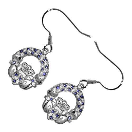 GWG® 18K Weißgold plattierte Claddagh Ring Ohrringe für Frauen mit Saphir-Blauen Zirkonia Steinen besetzt