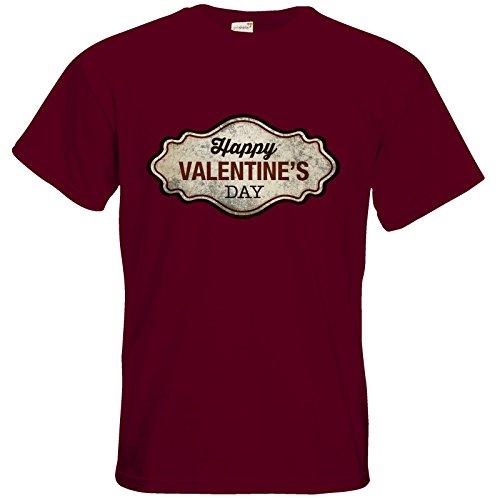 getshirts - RAHMENLOS® Geschenke - T-Shirt - Valentinstag Valentine Plakette used Look Burgundy