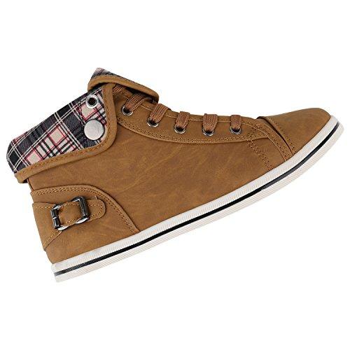 Damen Sneakers High Karo Muster Bequeme Schuhe Schnürer Hellbraun Karo