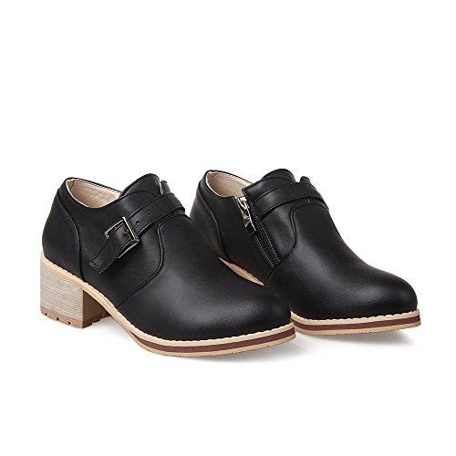 AgooLar Femme Couleur Unie Pu Cuir à Talon Correct Rond Zip Chaussures Légeres Noir