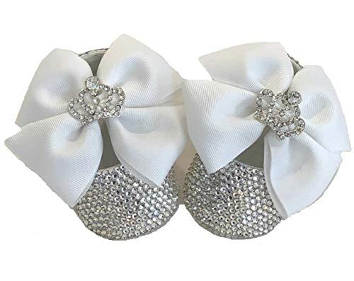 dd62afcb68 SCARPINE BALLERINE CRISTALLO LUSSO BABY BIANCHE NEONATA BAMBINA LUXURY  Scarpe Battesimo Matrimonio Wedding White Party Crystal